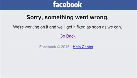 fb error facebook again goes down with something went wrong error