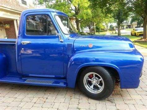 purchase used 1954 ford truck metallic blue paint headturner in arlington heights