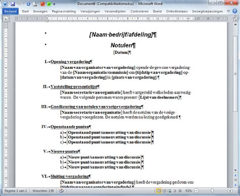 layout samenvatting nederlands notuleersjabloon standaard in word