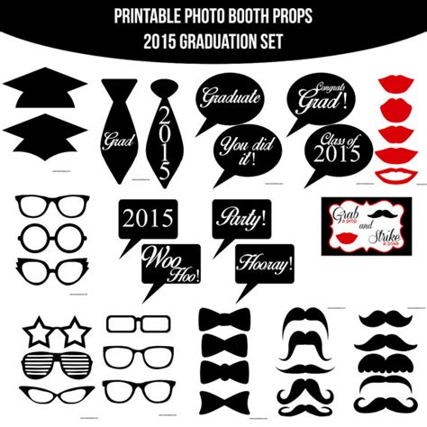 Printable Graduation Photo Booth Props 2015 | instant download graduation graduate grad by amandakprintables