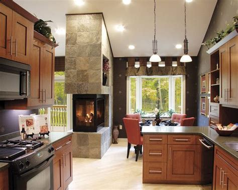 Kitchen Fireplace Designs | see through fireplace between dining and living room my