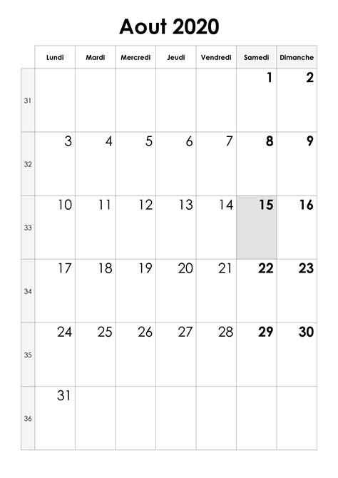calendrier aout  calendriersu