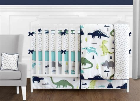 boy nursery bedding sets sweet jojo dinosaurs turquoise blue grey white boy baby crib bedding set for sale ebay