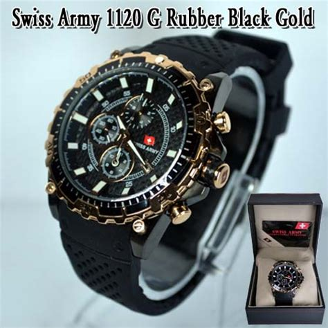 Harga Jam Tangan Burberry Asli swiss army 1120 g rubber black gold 081287691999 copy