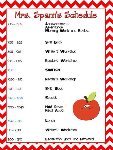 August 2012 Third Grade Bookworm Second Grade Schedule Template