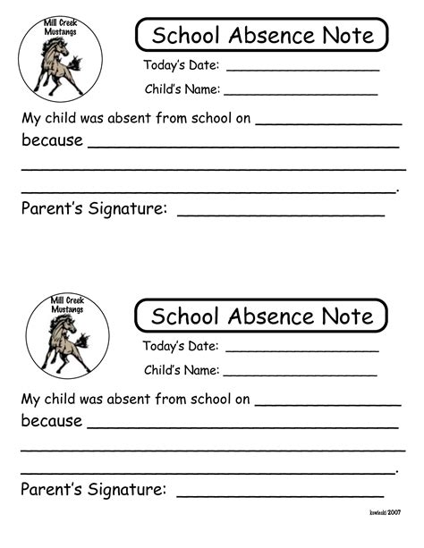 6 best images of printable notes for school absence