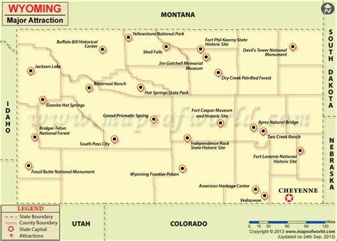 us map showing wyoming travel attractions in wyoming wyoming travel map