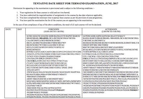ignou date sheet 2018 term end ba bsc bcom time table