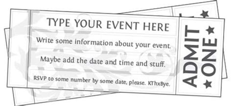 free printable event ticket template kids birthday