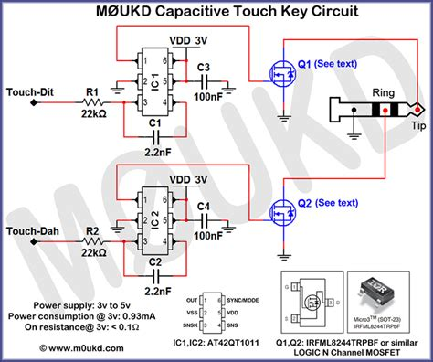 capacitive cw touch key circuits m0ukd radio