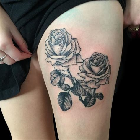 roses on thigh tattoo dot work black on thigh by frank ready tattoos