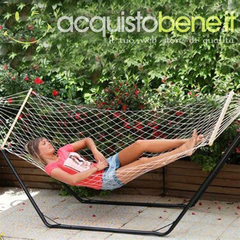 rete per amaca amaca a rete con asse legno 200x80 cm per arredo giardino