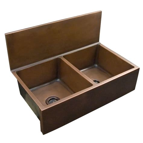 double bowl farmhouse with backsplash copper kitchen sinks in a variety of configurations and