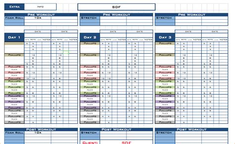 workout template excel pin fitness workout templates on