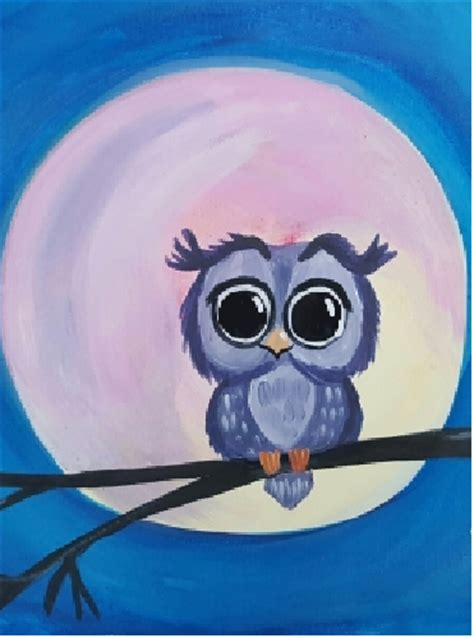 paint nite owl learn to paint owl alone blue