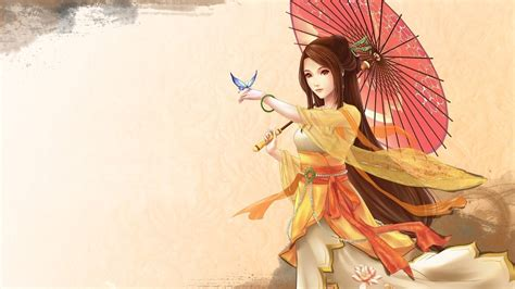 anime wallpapers japan anime girl umbrella kimono japanese wallpaper 00347 baltana