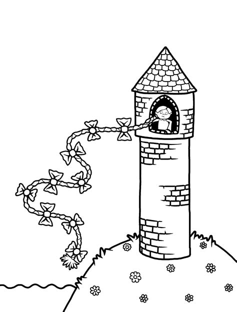 coloring page rapunzel tower download and print fairy tales priddy books