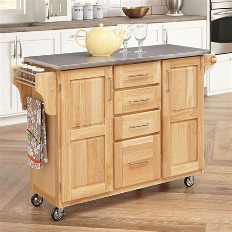 kitchen island with casters shop home styles 52 5 in l x 18 in w x 36 in h natural