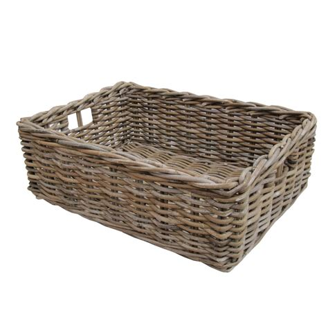Rattan Kitchen Furniture by Rectangular Grey Amp Buff Rattan Storage Baskets
