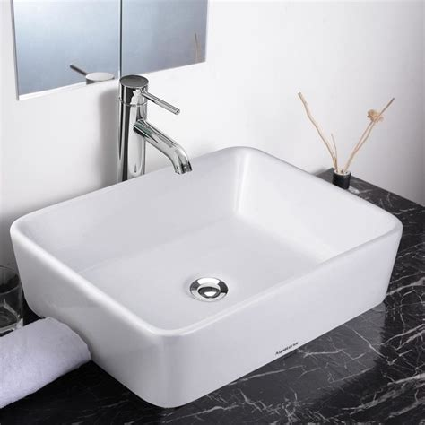 contemporary bathroom sink faucets aquaterior 18 quot rectangle porcelain ceramic vessel sink w