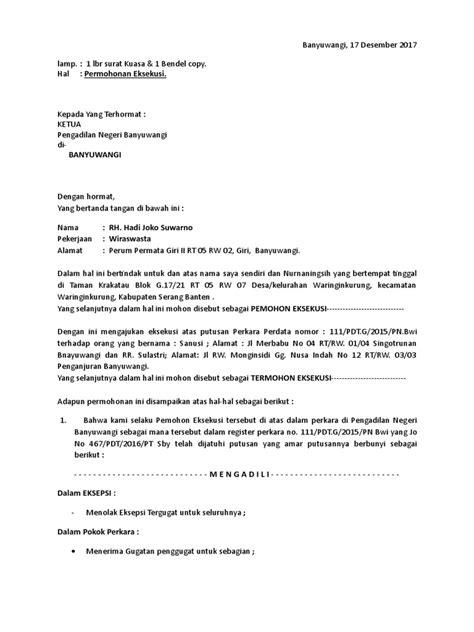 Contoh Surat Gugatan Eksekusi Melalui Pengadilan Negeri