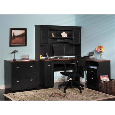 Wooden Home Office Desk Furniture Black Corner Home Office Computer Desk With Hutch And Wooden Swivel Chair Feat Square
