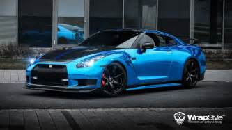 1000hp Nissan Gtr 1000hp Nissan Gt R Wrapped In Blue Chrome By Wrapstyle