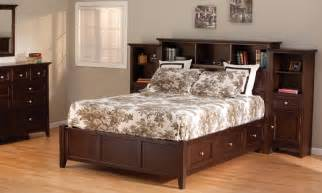 King Size Platform Bed With Storage And Bookcase Headboard Bookcase Storage Platform Bed King Size Caffe