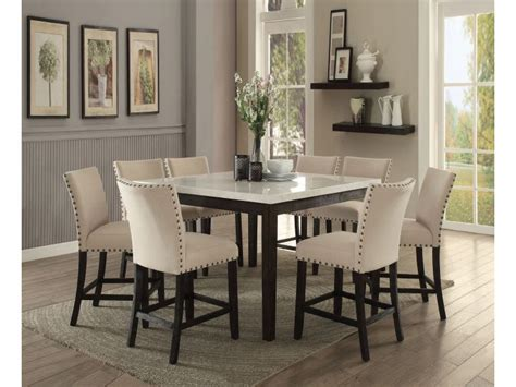 nolan white marble top counter height dining set shop