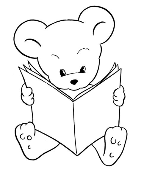 reading coloring pages printable teddy bear coloring pages free printable reading bear
