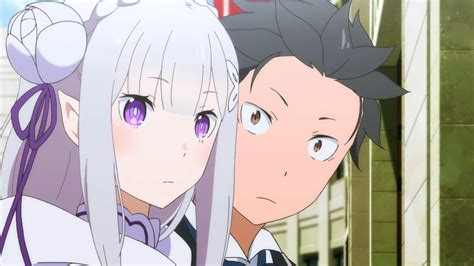 subaru and emilia re zero 12 12 emilia and subaru clouded anime