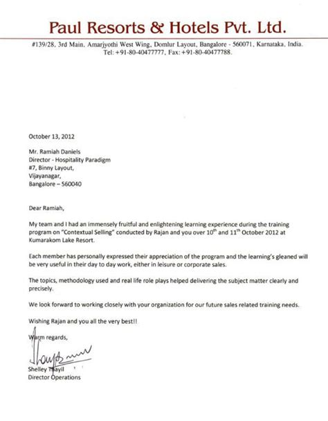 Customer Appreciation Letter From Hotel Hospitality Paradigm Programs The Paul Bangalore