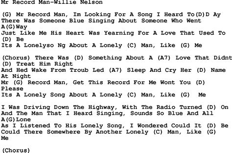 lyrics willie nelson country mr record willie nelson lyrics and chords