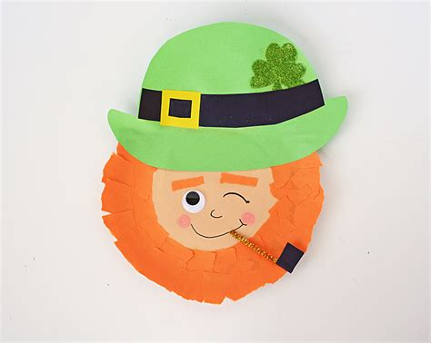 Leprechaun Paper Craft - winking paper plate leprechaun craft 183 kix cereal