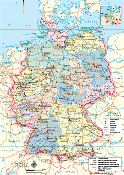 germany tourist attractions map germany tourist map germany mappery