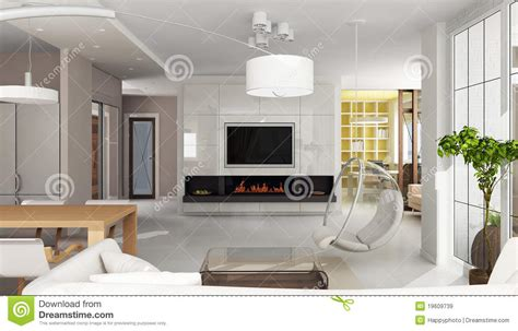 luxury apartment interior with fireplace royalty free