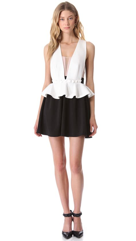 three floor bad dress in white black lyst