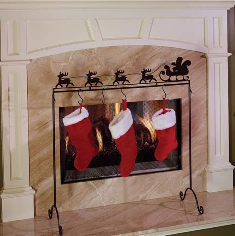 fireplace screen stocking holders home design ideas