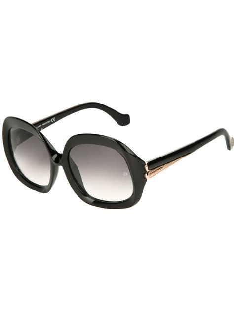lyst balenciaga oversize frame sunglasses in black