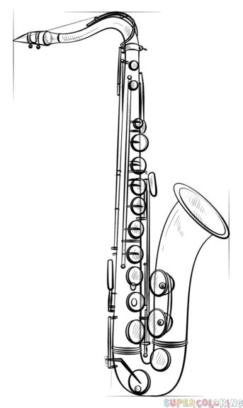 how to draw saxophone step by step drawing tutorials