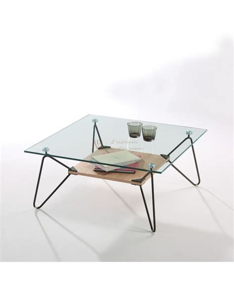 Table Basse Verre Metal by Table Basse Carr 233 E Plateau Verre Pieds M 233 Tal Tablette Bois