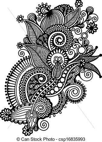 Vector - Hand draw black and white line art ornate flower