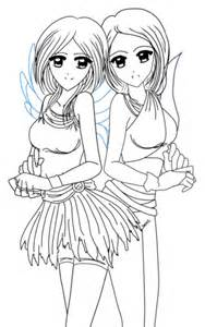 yin anime twins coloring free printable coloring pages
