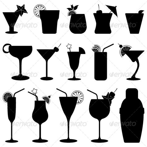 Cocktail Drink Fruit Juice Silhouette Silhouettes