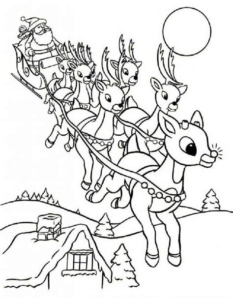 coloring page reindeer pulling sleigh free printable rudolph coloring pages for kids