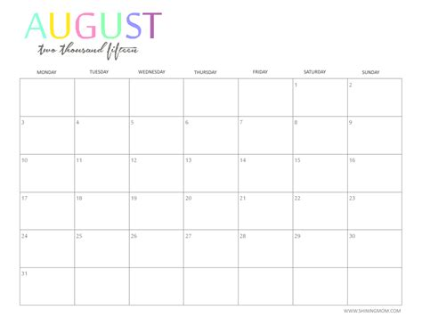 August Printable Calendar 2015 Safasdasdas Monthly Calendar 2015
