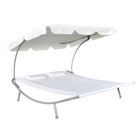 sun bed outdoor double sun bed with canopy 2 pillows cream white