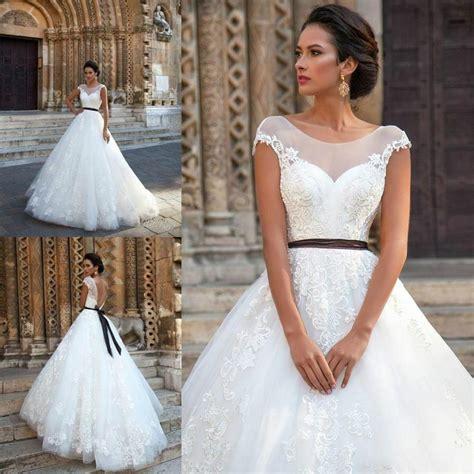 Wedding Hair For Cap Sleeve Dress by Vintage 2016 Lace Wedding Dresses Sheer Neck Applique Cap