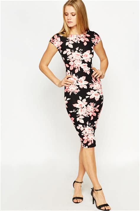 Flowery Bodycon Midi Dress large floral bodycon dress just 163 5