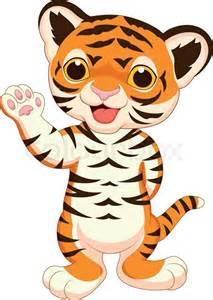 cute baby tiger cartoon waving stock vector colourbox